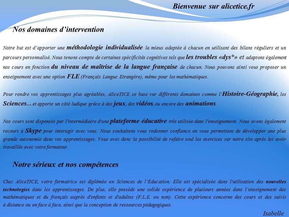 Domaines d'intervention et compétences d' alicetice.fr
